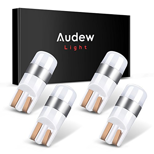 Audew 4pcs 194 T10 W5W LED Bulb, Super Bright Ultra Compact Interior Bulbs for Car,300 Lumens, Cool White
