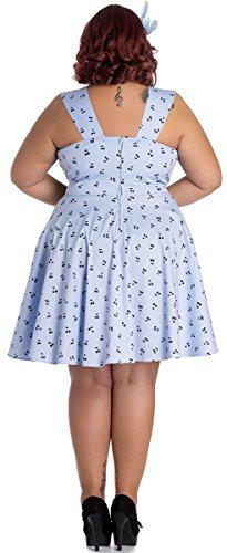 Lucine Kirschen Bunny Plus Size Damen Hellblau Hell Kirschen Kleid mit Retrokleid UwIxd7