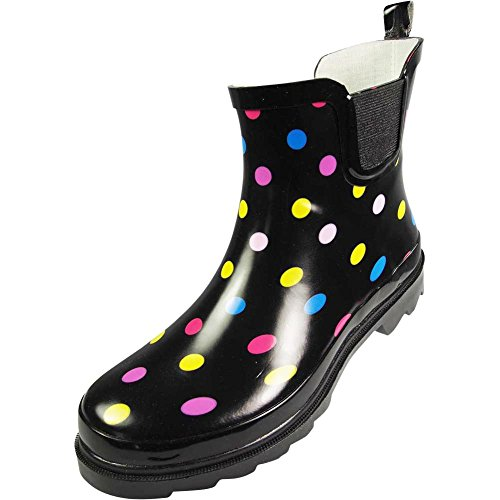 NORTY Womens Ankle High Polka Dot Printed Rain Boot, multicolored 39723-8B(M) US