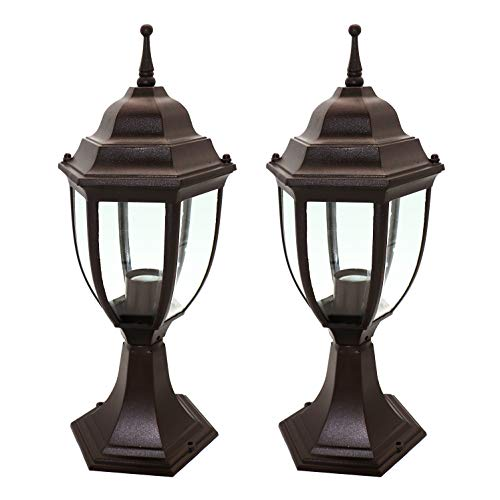 OSTWIN 1-Light Outdoor Garden Post Lantern L04 Lighting Fixture, Traditional Post Lamp Patio with One E26 Base, Water-Proof, Bronze Cast Aluminum Housing, Clear Glass Panels, (2 Pack) ETL ()
