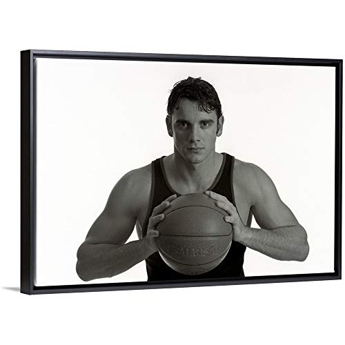 Portrait of Male Basketball Player Holding The Ball Black Floating Frame Canvas Art, 20