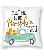 أغطية وسائد VERSUSWOLF Meet Me at The Pumpkin Patch Fall Harvest Truck with Pumpkin Halloween Autumn Sofa Throw Pillow Cover Square Soft Pillow Cases 12X12