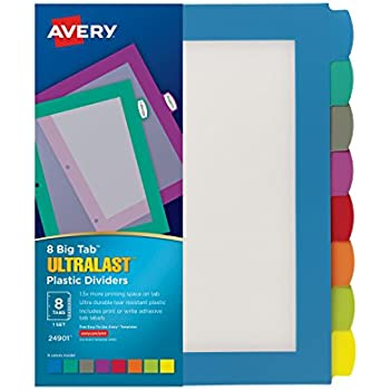 amazon com avery big tab insertable extra wide dividers 8