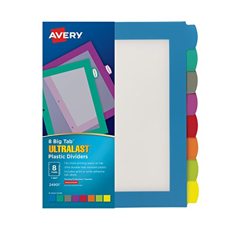 Avery Ultralast Big Tab Plastic Dividers 8 Tabs 1 Set