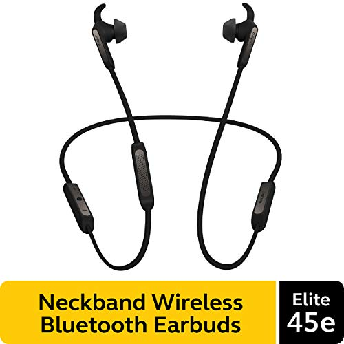 Jabra Elite 45e Wireless Earbuds, Titanium Black - Alexa Enabled, Wireless Bluetooth Earbuds, Around-The-Neck Style with a Secure Fit and Superior Sound for Music and Calls, Long Battery Life