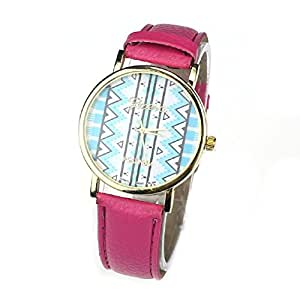 Susenstone(TM) 1PC Fashion Women Girl Waves Tribal Pattern Quartz Leather Wrist Watch (Hot Pink)