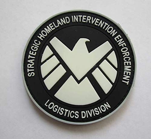 Glow in The Dark Marvel Comics Avengers Agents of Shield Military PVC Patch Rubber Badges Patch Tactical Stickers for Clothes Back with Hook (Shield Military Cap)