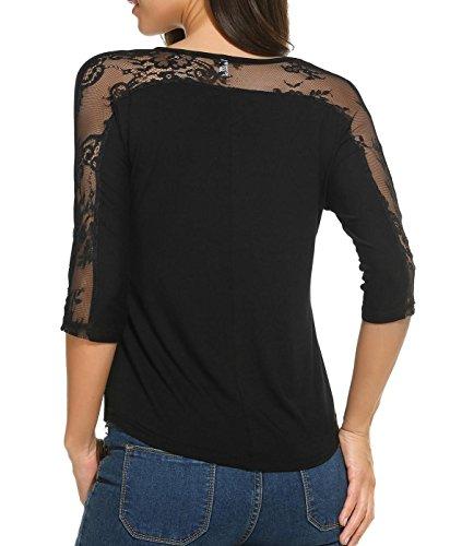 Lace Sleeve Detail Top (Zeagoo Lace Splice Tops Women's Cut Out Fashion Autumn Blouses Party Black Top XL)