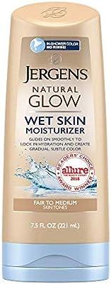 Jergens Natural Glow In-shower Moisturizer, Fair to Medium Skin Tone, 7.5 Fl Oz Wet Skin Lotion, Locks in Hydration with Gradual, Flawless Color