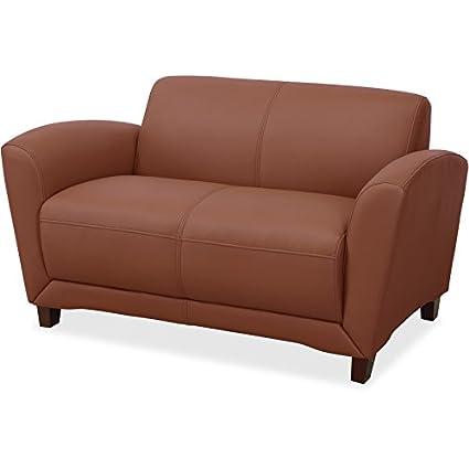 Amazon.com: Lorell 68947 Accession Loveseat Sofa, Mahogany ...