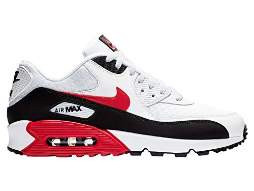 Nike Men's Air Max 90 White/University Red/Black Leather Running Shoes 12 M ()