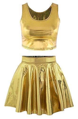 Jescakoo Girl's Cute Crop Tank Top Tee Mini Skater Skirts Set Faux Leather Gold