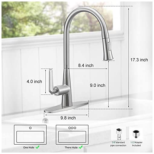 Kitchen Single Handle Kitchen Faucet with Sprayer-Modern Stainless Steel Pull Down Faucets for Kitchen Sink,7-Layer Brushed… modern sink faucets