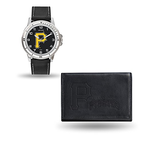 (Rico Industries MLB Pittsburgh Pirates Men's Watch and Wallet Set, Black, 7.5 x 4.25 x 2.75-Inch )