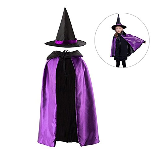 Dolores Halloween Cloak Kids Reversible Satin Witch Cape with Hat Cosplay Party Costume Pretend Dressing Up Props Purple