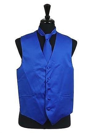 Men's Dress Vest NeckTie Handkerchief ROYAL BLUE Neck Tie and ...