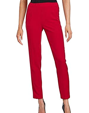 Calvin Klein Women's Pleated Pull-On Dress Pants Red 4