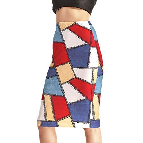 Fanii Quare Women's Elastic Casual Bodycon Print Midi Pencil Skirt Color Squares M