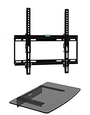 "Mount Plus 322STEDV Ultra Low Profile LCD LED Plasma TV Tilt Wall Mount with One Glass Shelf of Cable Box DVD Player Stereo Components for Most 26"" to 46"" (VESA 100x100 200x100 200x200 300x300 400x200 400x300, 400x400) LCD LCD of SONY Samsung Vizio Toshib"