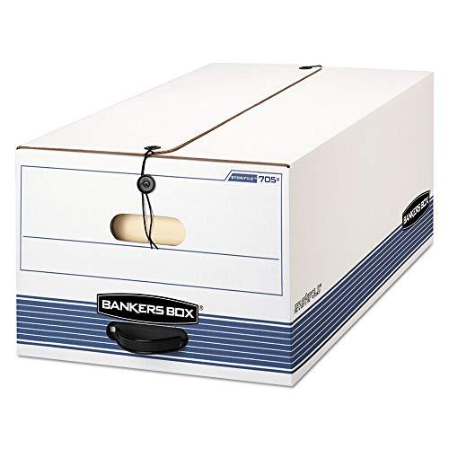(BANKERSBOX 705 Stor/File Storage Box, Button Tie, Legal, White/Blue, 12/Carton)