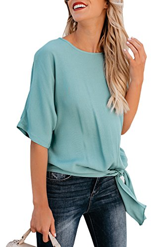 Niitawm Womens Blouse Casual Knot Tie Front Loose Fit Half Sleeve Tee Top T-Shirt Blouses
