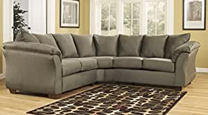 Darcy 75003-55-56 Stationary Fabric Sectional Sofa with 5 Loose Seat Cushions and Plush Padded Arms in Sage