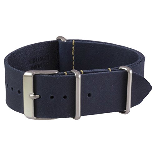 Benchmark Straps 20mm Navy Blue Oiled Leather NATO Watchband (More Colors Available) Navy Blue Leather Band
