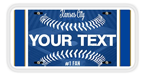 BleuReign(TM) Personalized Custom Name Baseball Kansas City Car Vehicle License Plate Auto - Plates Mlb License Baseball Plate
