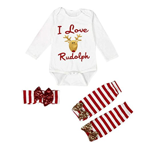 Gotd Toddler Infant Baby Girl Boy Clothes Winter Long Sleeve Romper+Leg Warmer Headband Christmas Outfits (6-12 Months, White)