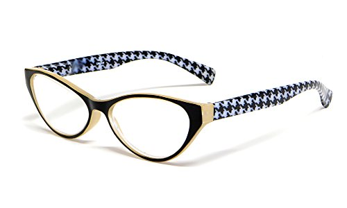 Calabria Emily Designer Reading Glasses in Tan with Black & White ; - Reading Eyewear Designer Glasses