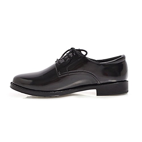 Patent Women's Low Carolbar Black Lace Black up Leather Shoes Heel Oxfords aEUxPwU