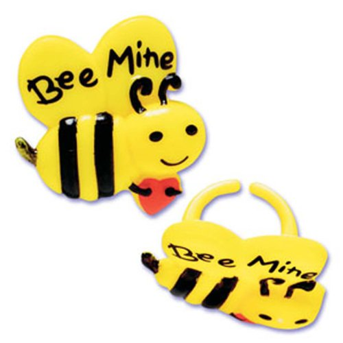 (Dress My Cupcake DMC41V-65 12-Pack Bee Mine Ring Decorative Cake Topper, Valentines,)