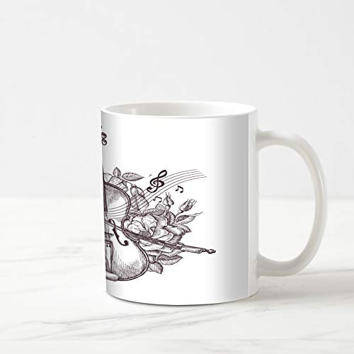 Ahawoso Coffee Tea Mug 11 Ounces Fiddler Sketch Vintage Fiddle Handdrawn Retro Violin Audio Flowers Orchestra Musician Sheet Music 11Oz Ceramic Tea Cups Gift Great Boss Coworker Friend ()