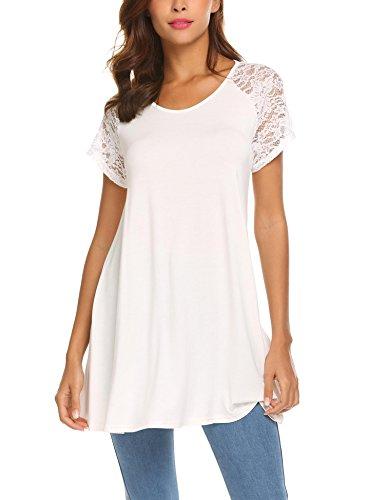 Hersife Women Tunic Top, White, ()