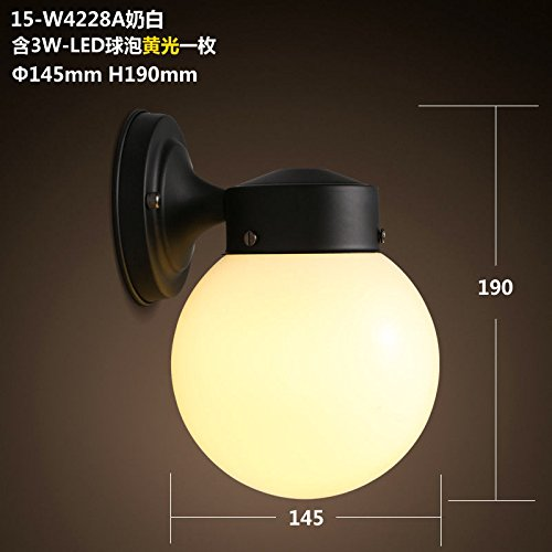 Avanthika Modern Vintage Wall Sconces Wall Lights Yuen Off The Road Rooms Simple Ball Iron Art Glass Dome Lamp-Head Led,W4228A Milk White Yellow