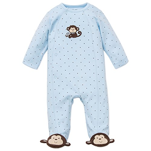 (Little Me Baby-Boys Monkey Star Footie, Light Blue, Newborn)