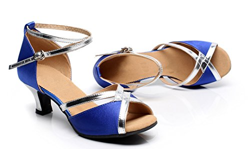 6cm Silver Womens Samba TDA Heel Modern Latin Blue Dance Strap Synthetic Wedding Rumba CM106 Ankle Shoes S55Owq6