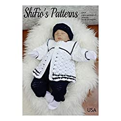 Crochet Pattern for Baby Boy, Sailor Set, Jacket, Trousers, Pants, Beanie, 3 Sizes, CP17