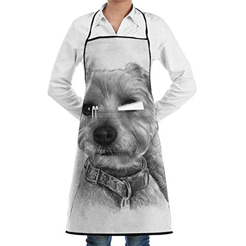 Vicrunning Golden Drawing Puppy Aprons Bib for Mens Womens Halloween Lace Adjustable Adult Kitchen Waiter Aprons with Pockets
