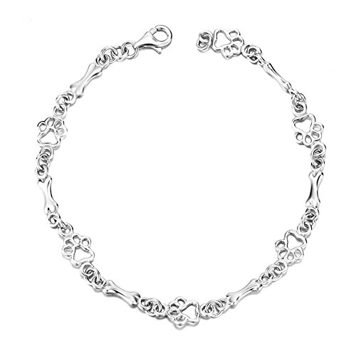 925 Sterling Silver Dog Bone and Paw Print Link Charm Bracelet for Dog Lover LSCB20 (Paw Print Dog Bones)