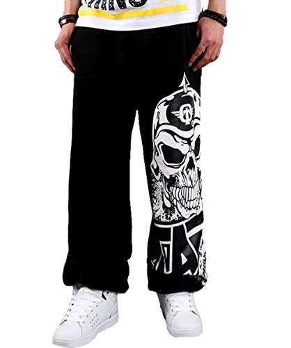 Upopby Men's Skull Hip Hop SkateBoarding Sweatpants Cotton Pants Black 3XL (Skull Sweatpants)