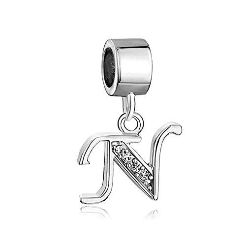 ThirdTimeCharm Dangle N Letter Initial Charm Clear Crystal Alphabet Beads For Charm Bracelets