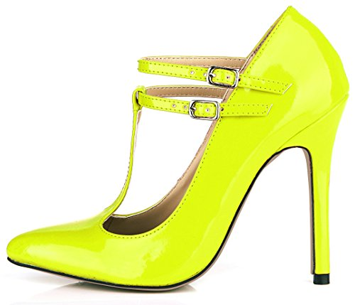 DolphinBanana Dress Pointy Stiletto Pumps Women Party Prom High Heels Fashion Multi Colors DolphinGirl Shoes Prime Shiny Yellow QRPyFyNfP