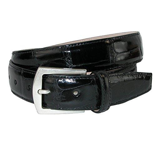 CrookhornDavis Men's American Alligator 32mm Belt, 40, Black - Glazed Alligator Belt
