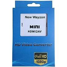 New Wayzon Mini White HDMI to 3RCA Composite Video AV Converter 1080P for PC Laptop Xbox PS3 TV STB VHS VCR Camera DVD-White