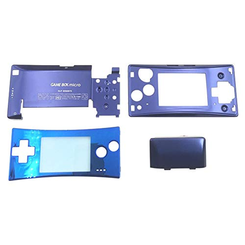 Xingsiyue Housing Shell Kit for Nintendo Gameboy Micro GBM - 4PCS Repair Front Faceplate Bottom Housing Case Cover Parts(Blue)