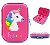 Cute Unicorn Pencil Case for Girls - Big Capacity EVA Hardtop Pen Box Pouch Holder Stationery Case with Compartments for School Students Girls Kids Keep School Supplies Well Organized