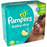Pampers Size 5 Baby Dry Diaper, 24 count per pack - 4 per case.