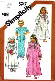 Simplicity Sewing Pattern 5747 for Girls 5 & 6 Button Front Curved Yoke, Gathered Nightgown, Robe, Pajama Top and Pull on Pants with Hat, Featured Long or Short Sleeves with Elastic Casing & Ruffle, Trimmed Yokes, Collar Options