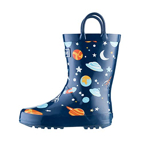 CasaMiel Kid&Toddler Boys Rain Boots for Children, Handcrafted Rubber Boots, Blue Space